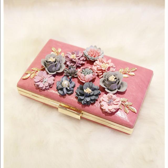 Elegant  Lady Evening Bag Floral Day Clutch Bag Luxury Handbag Banquet Party Purse Wallet Women  Chain  Shoulder Bag
