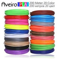 3D Ручка PLA Filament 200 метров, 20 цветов, 1,75 мм, пластиковые нити, 3 d материалы для принтера, для 3D ручек, детские подарки на день рождения