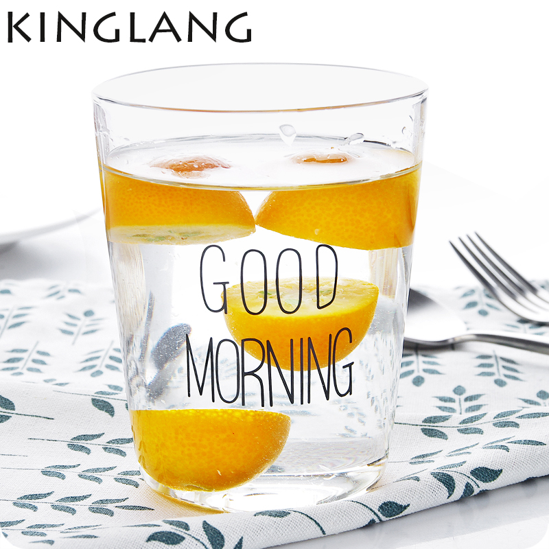 1 pc good morning transparent glass juice water cup yogurt milk glass cup