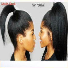 New Natural High Ponytail Kinky Straight Full Lace Wig Brazilian Virgin font b Hair b font
