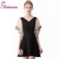 Black Cocktail Dresses 2019 Knee Length Half Sleeves Homecoming Dresses Robe De Cocktail Little Black Dresses