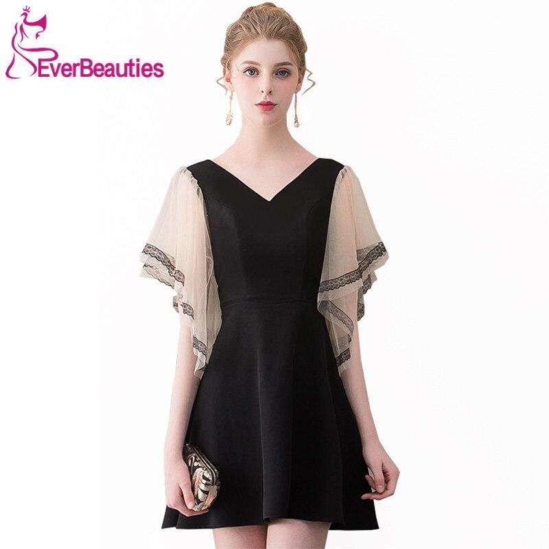 Black Cocktail Dresses 2019 Knee Length Half Sleeves Homecoming