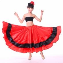 Красные юбки фламенко Детская Одежда, Испания Длинные бальные Юбка для девочек Детская танцевальная одежда для этапа 180/360/540/720 градусов круглый DNV11148