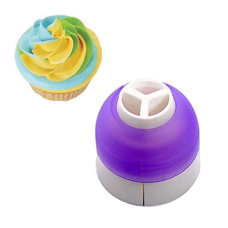 Hot Sale 1pcs 3 Holes Cake Decoration Converter Mix 3 Colors Icing Piping Nozzle Converter For Cupcake Nozzle Converter