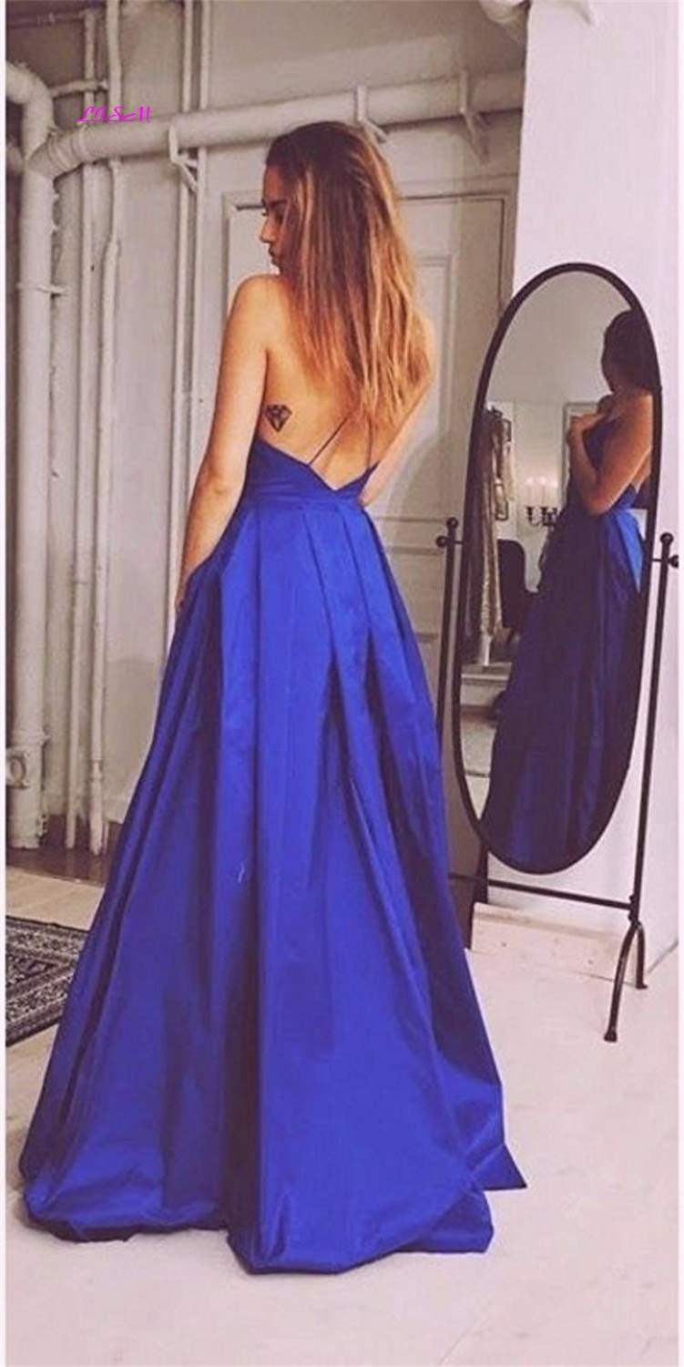 Lavender Ball Gown Princess Prom Dresses Spaghetti Straps V Neck Satin Long Evening Dress Sexy Backless Teens Formal Party Gowns in Prom Dresses from Weddings Events