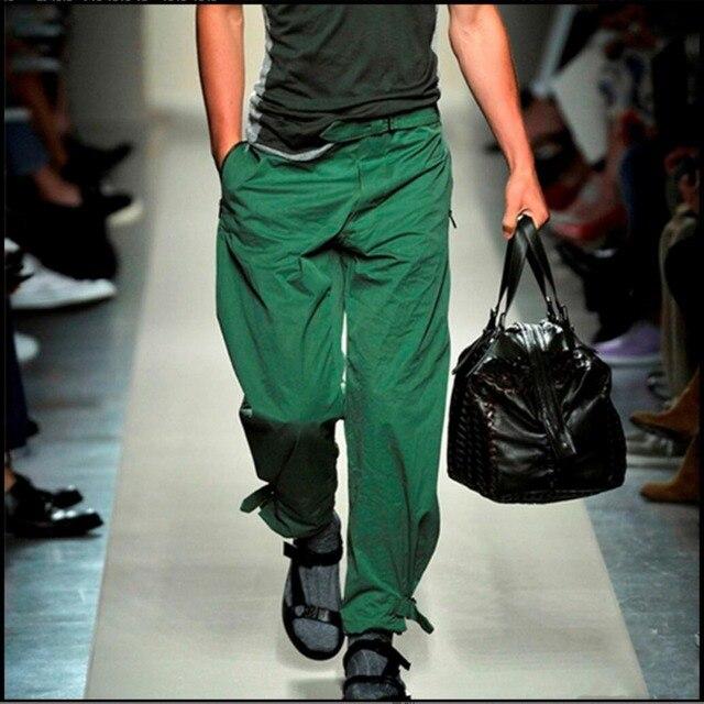 bffd905b9 28 38 Nuevos Hombres de la primavera Verde Del Ejército recta marea  pantalones de piernas anchas pantalones ocasionales flojos entrepierna  pantalones ...