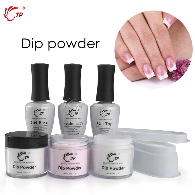 Tp French White Nail Tips Dipping Powder No Lamp Cure Nails Dip Powders Transparent French