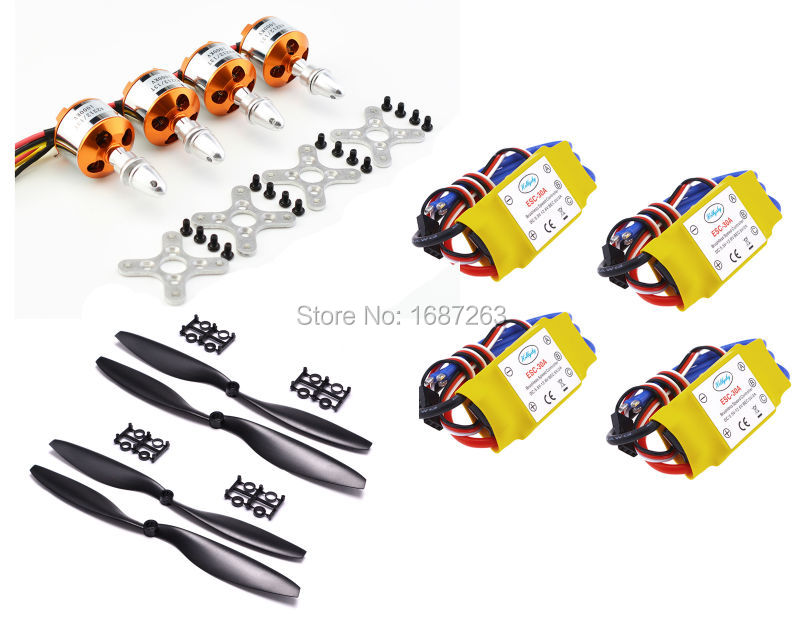 4pcs 30A Brushless Speed Controller ESC A2212 2212 1000KV Outrunner Motor 1045 Prop 450mm 500mm Quad