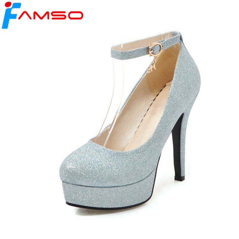 FAMSO 2019 New Spring Autumn thin Heels Pumps Gold Silver ...