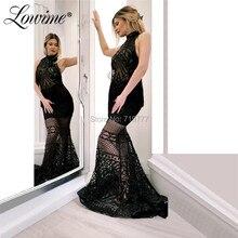 Новейший дизайн, Вечернее Платье Из Черной блестящей ткани с высоким вырезом, платья для выпускного вечера с русалочкой вечерние платья, платье знаменитостей Abendkleider