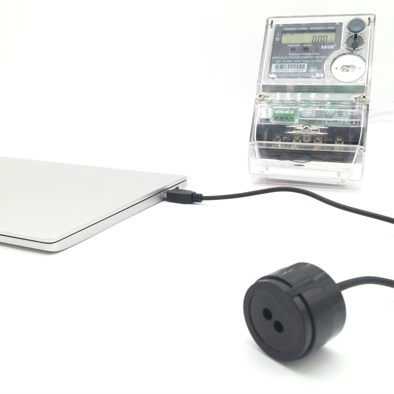 RJ-OPUSB-IEC Black Color 2 Meters Straight Cable IEC62056-21 Protocol Smart Meter Infrared USB Optical Probes