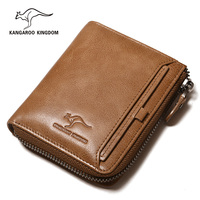 KANGAROO KINGDOM brand men wallets genuine leather vintage male small zipper purse wallet with ID credit card holder
