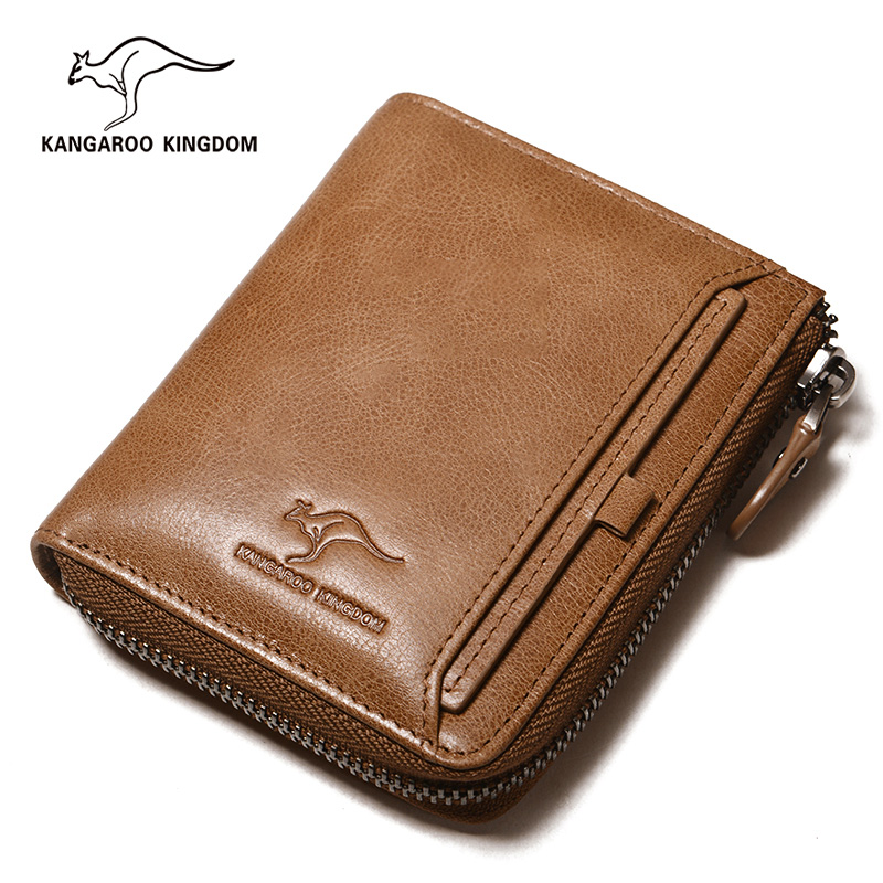 KANGAROO KINGDOM brand men wallets genuine leather vintage male small zipper purse wallet with ID credit card holder westal genuine leather men wallets leather man short wallet vintage man purse male wallet men s small wallets card holder 8866