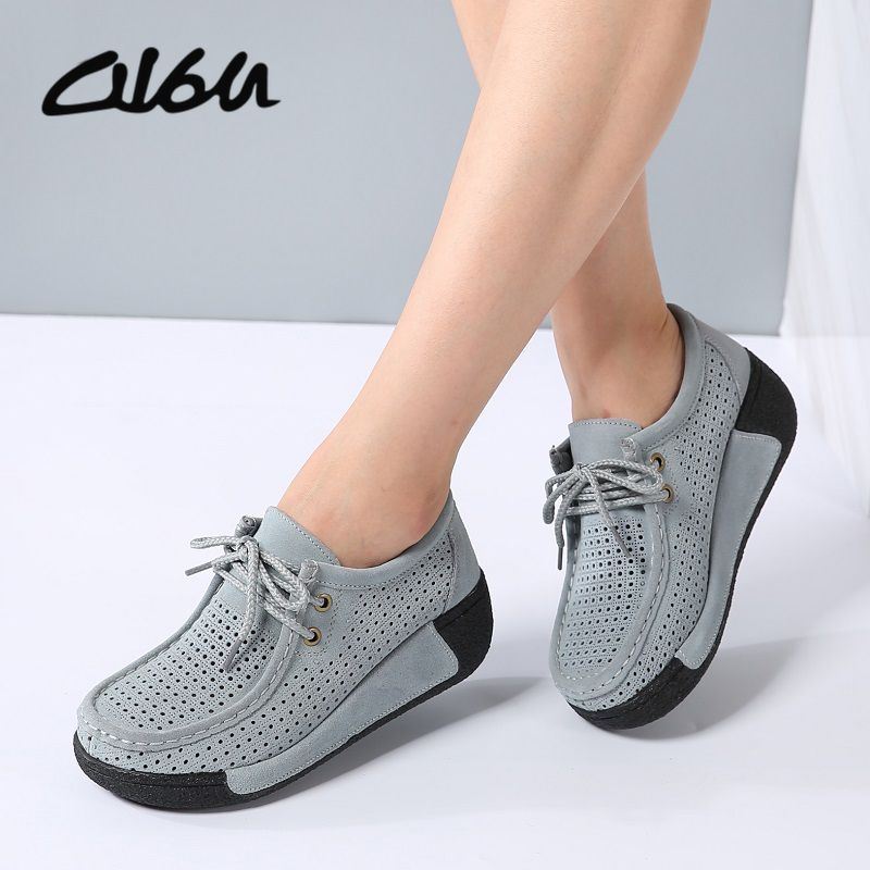 Women Flats Platform Shoes Suede Leather Lace up women Moccasins Creepers slipony Female Casual Summer Shoes Ladies Winter