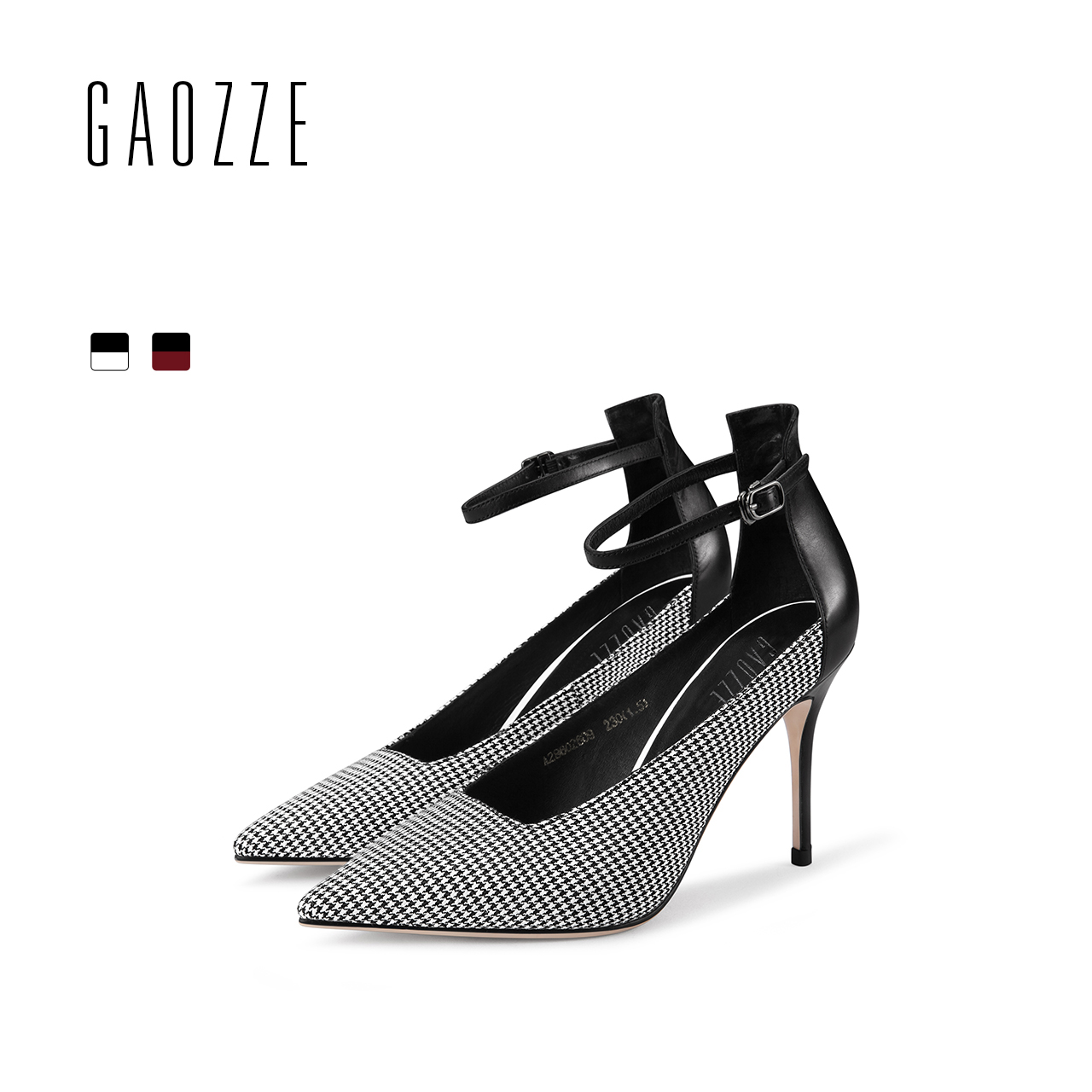 GAOZZE Fashion Plaid Cloth Ladies Pumps Shoes British style Pointed Toe Buckle Strap Stiletto High Heels Women 2018 Spring New xiaying smile woman pumps shoes women mary janes british style fashion new elegant spring square heels buckle strap rubber shoe