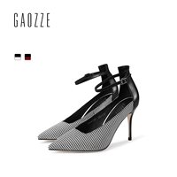 GAOZZE Fashion Plaid Cloth Ladies Pumps Shoes British style Pointed Toe Buckle Strap Stiletto High Heels Women 2018 Spring New