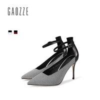 Gaozze моды плед ткань женские туфли лодочки британский стиль острый носок Туфли с ремешком и пряжкой стилет Высокие каблуки Для женщин Новинк