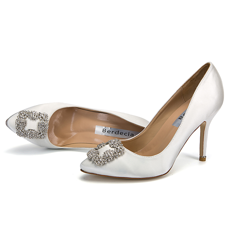 ФОТО Spring Elegant Office Lady Brief Style Women Pumps Slip on Shoes Crystal Embellished Stilettos Pointed toe Woman Pumps Mujer