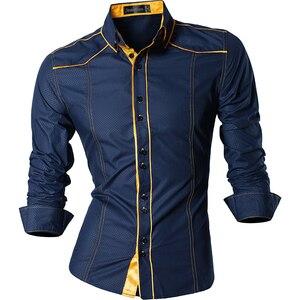 Image 3 - جانيسيان ربيع الخريف الميزات قمصان الرجال جينز غير رسمي قميص جديد وصول طويلة الأكمام عادية سليم صالح قمصان الذكور Z034