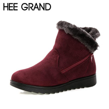 HEE GRAND Women Warm Ankle Boots Faux Fur Winter Womens Zipper Anti Slip Ankle Bootie Warm Fur Footwear Shoes Booten XWX6336 все цены