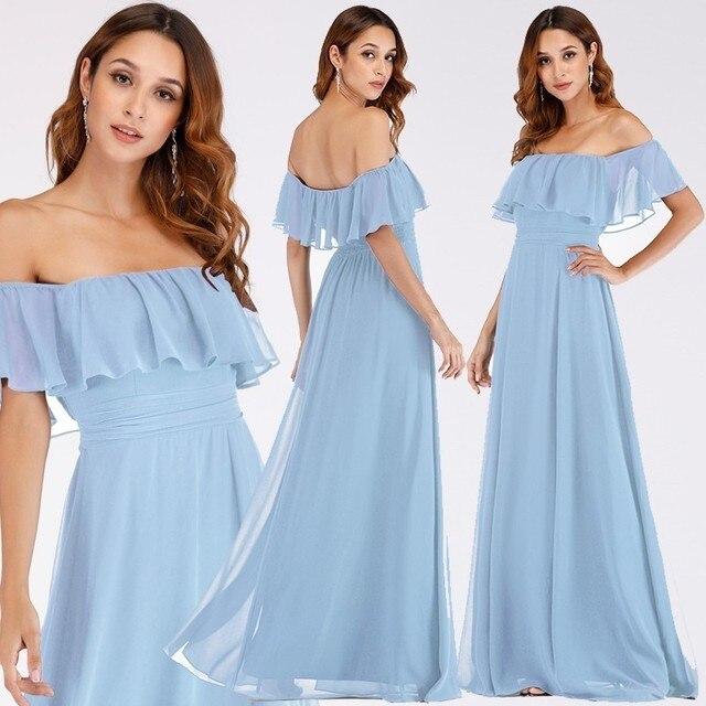 Prom Dresses Long Ever Pretty Elegant Off-shoulder A-line Leg Slit Wedding Guest Dresses Sexy Purple Chiffon Long Party Gowns 3