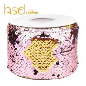 Image 2 - HSDRibbon 3 นิ้ว 75 มม.สีเลื่อมผ้า Reversible Glitter เลื่อมริบบิ้น 25 หลา/ม้วน