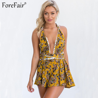 ForeFair Sexy Lace Changeable Bandage Bodysuit Floral Print Boot Cut Backless Vacation Beach Rompers Womens Jumpsuit