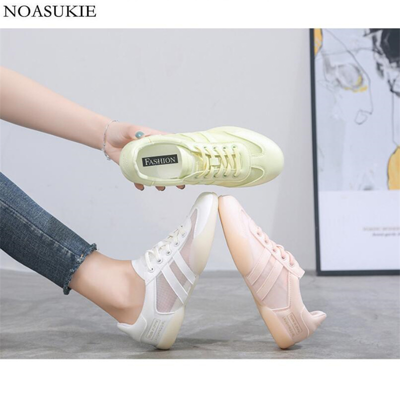 Fashion Lycra Mesh Breathable Women Sneakers Striped Simple Casual Shoes Translucent Vulcanized Flat Shoes Basket Femme Hipsters
