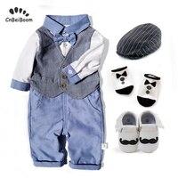 Newborn Cotton Baby Kids Clothes Set boy Toddler Baby Boys Gentleman Bowtie long Sleeve Shirt+ pant Sets Boys Clothes gift