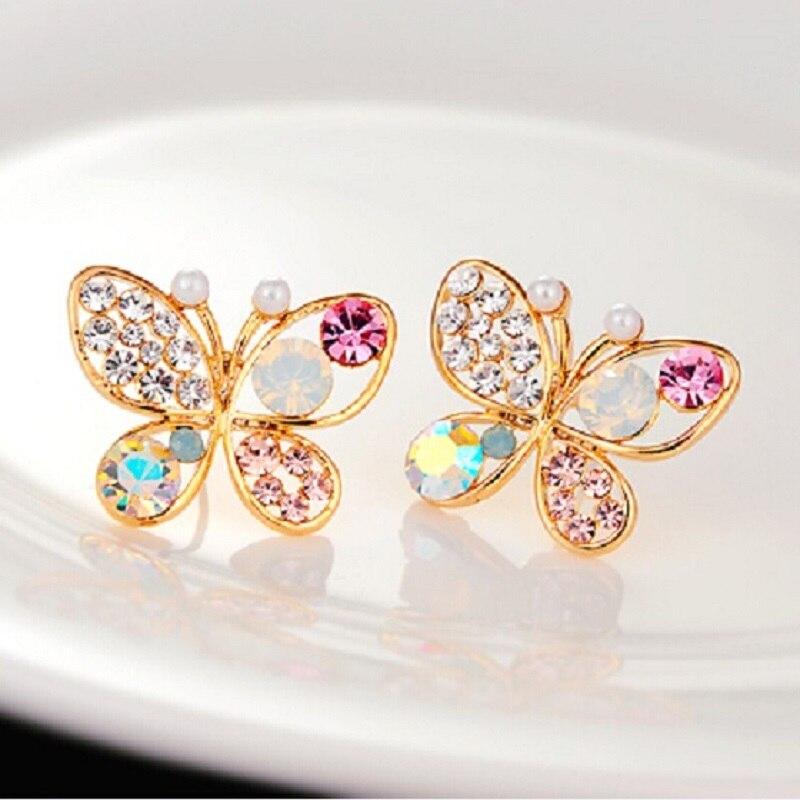 Покрытием новый корейский роскошные полые блестящие красочные Cystal имитация жемчуг 18kgp бабочка Серьги-гвоздики