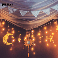 JULELYS 6 * 1M 256 Lampor LED Bröllop Gardin Light Jul Garland Lights Dekor För Holiday Home Garden Backyard Decor