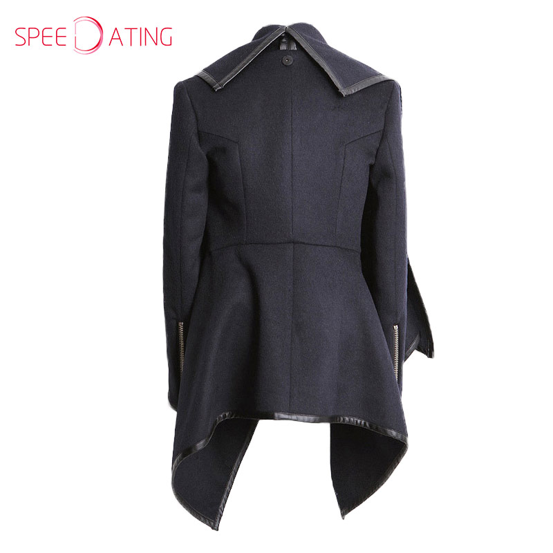 2017 Nice Blue High Neck Front Wrapped Trench Coat Long Sleeve Turn Down  Collar Asymmetrical Autumn Winter Women Coat SPEEDATING-in Wool   Blends  from ... cc55fdc58f7