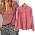 Blusas Femininas 2015 массимо женщин развеселить рубашки с длинным рукавом воротник стойка блузка свободного покроя хлопок красные рубашки ZA бренда вершины