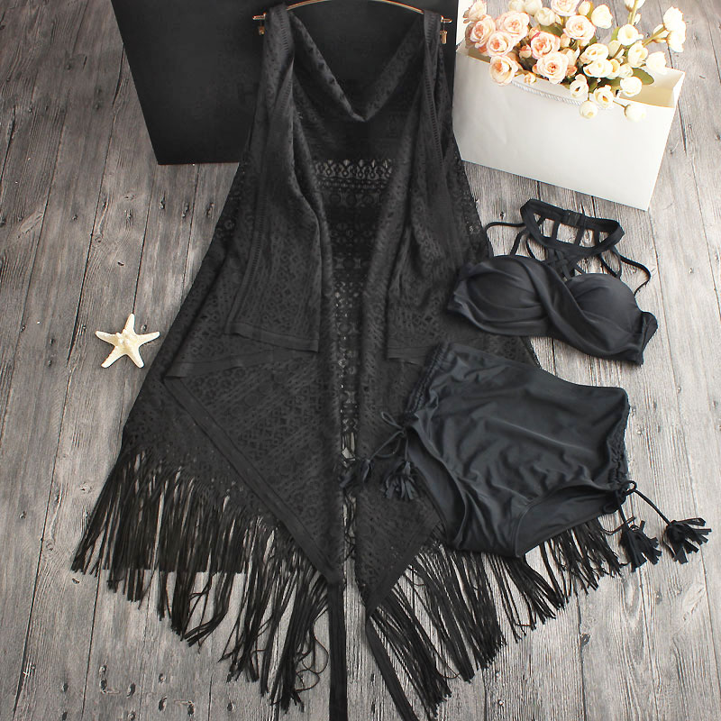 New Women Dress Bandage Bikini Set Halter Cross Push Up Sexy Vintage Swimwear Swimsuit Black/White 2017 Lace Style Skirt guess new white illusion panel halter dress msrp $129 dbfl