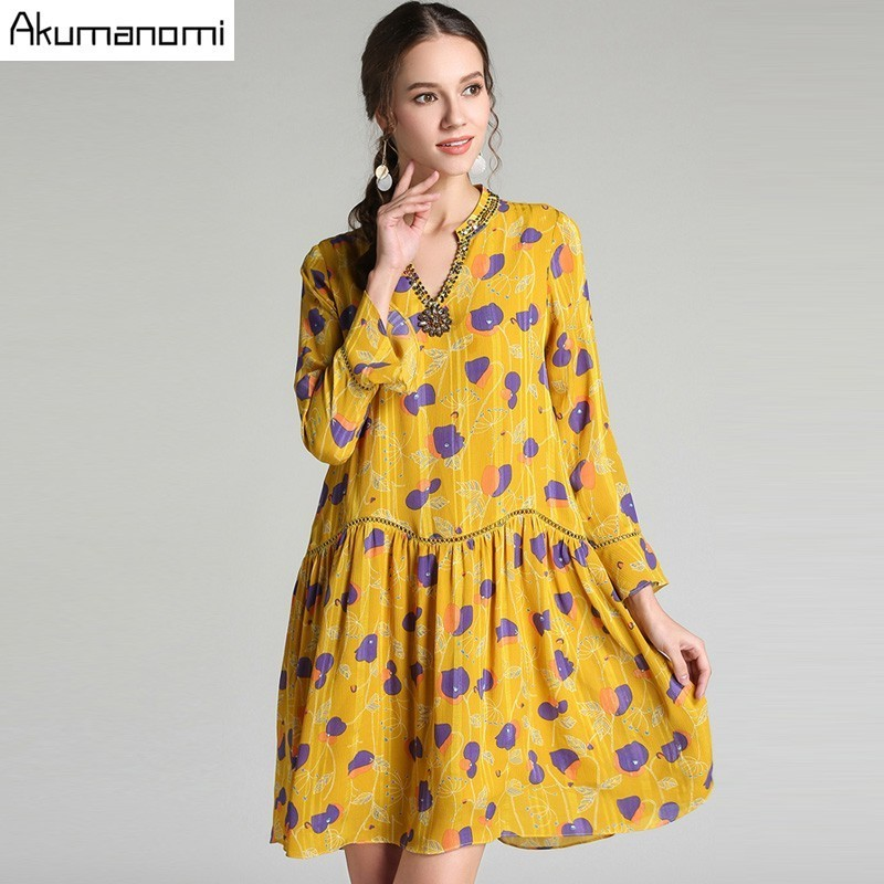 Autumn Chiffon Dress Women Clothing Gold Beading Diamonds V Neck Flare Full Sleeve Draped Spring Dress