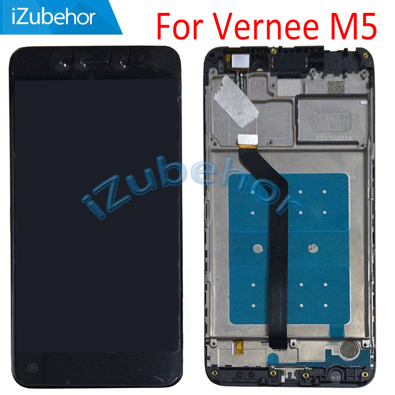 5.2 inch IPS display screen For Vernee M5 LCD+touch screen digitizer Assembly+frame black 720X1280 pixels free shipping