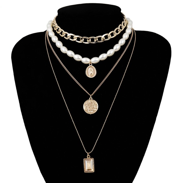 Layered Pearl Choker Necklace Collar Statement  5