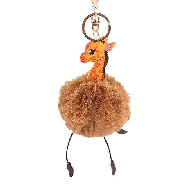Brinquedos Enchido & do Luxuoso Do Falso Pele De Coelho Bola PomPom HIINST Girafa Dos Desenhos Animados Bolsa Pingente De Chave Do Carro Anel Cadeia 40 # dropshipping