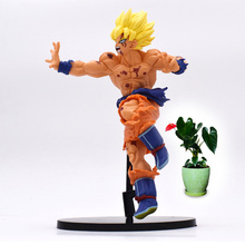 22 c m Anime Dragon Ball Son Goku Super Saiyan PVC Action Figure Doll Collectible Model Toy Christmas Gift For Children [funny] original box 28cm game over watch azrael black death reaper ripper action figure collectible model doll toy kids gift