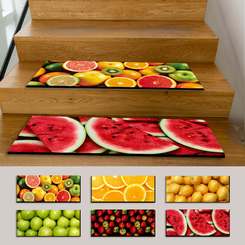 HUGSIDEA 6 PCS/SET Stair Mats Floral Rose Print Home Decorative Stair Mat Non Slip Colorful Floor Indoor Stair Tread Carpet Mats