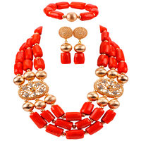 New Arrived Nigerian Wedding Jewelry African Beads Coral Jewelry Set for Women Men Bridal Jewelry Sets CBS35