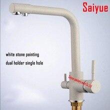 Белый мраморный камень двойной ручкой 360 град. вращающихся латунь поворотный мойки на бортике очиститель воды кран для кухни