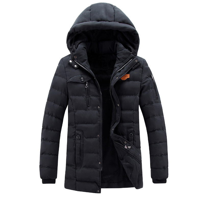 Men Winter Outdoor adventure Cotton coat Jackets Brand Thick Fleece Warm Coats Parkas Hooded solid Long Overcoats Clothing Male