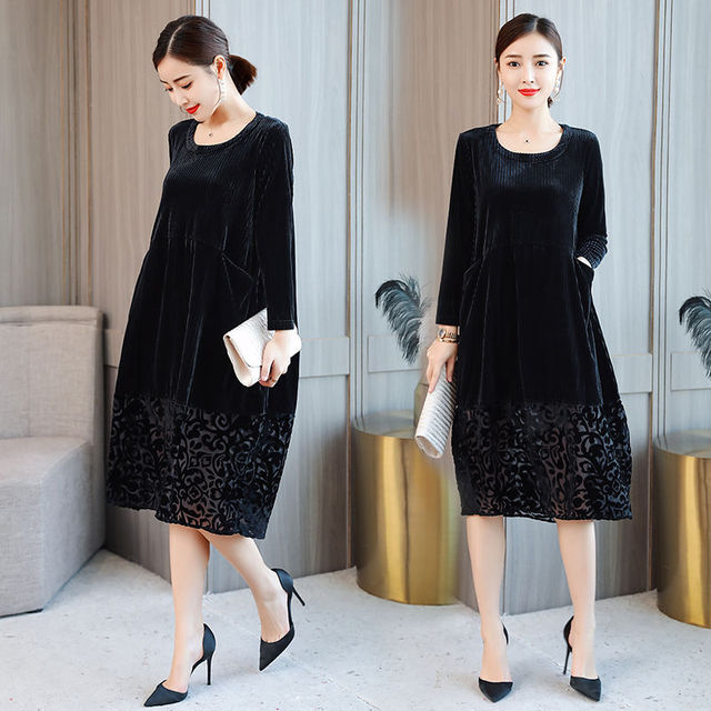 High Quality Female Autumn Winter Dress Robe Vintage Lace Velvet Dress Women Long Sleeve Casual Loose Dresses Femme Vestido 3