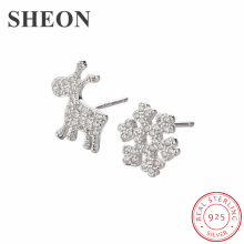 SHEON New Arrival 925 Sterling Silver Snowflake Elk Pave CZ Asymmetry Stud Earrings For Women Jewelry