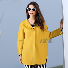Women Wool Parka Coat Suit Collar Button Bright Solid Colour Fashion Thin Overcoat New Autumn Style Outwear Round Hem AU00548