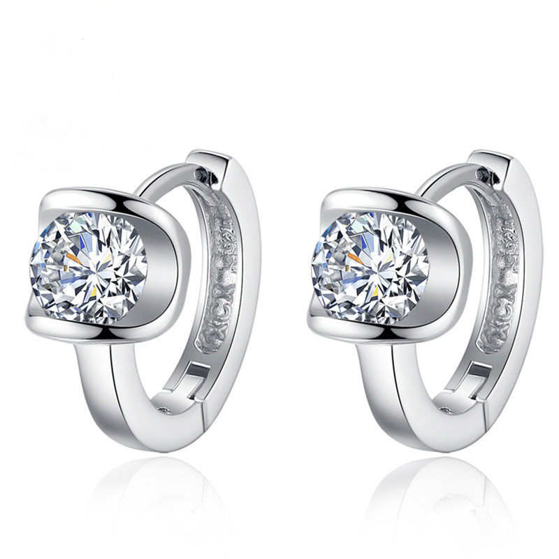 Hot Sale Promotion New Fashion Shiny Zircon 925 Sterling Silver Stud Earrings for Women Girls Jewelry Valentine 39 s Day Gift in Stud Earrings from Jewelry amp Accessories