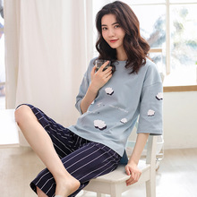 2019 new summer pajamas women cotton short sleeves cropped trousers casual comfortable home clothing pijama verano mujer algodon