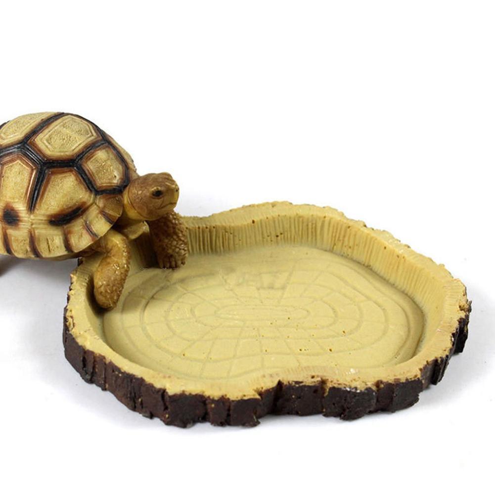 Resin Dish Reptile Food Water Bowl Vivarium Animal Turtle Gecko Snake Feeder