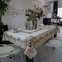 Beautiful rustic fashion quality embroidery fabric dining table cloth tablecloth cutout cover towel pink rose